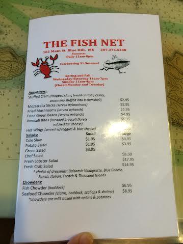 The Fish Net Menu