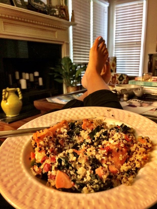 Qunioa, Kale and Sweet Potato Salad