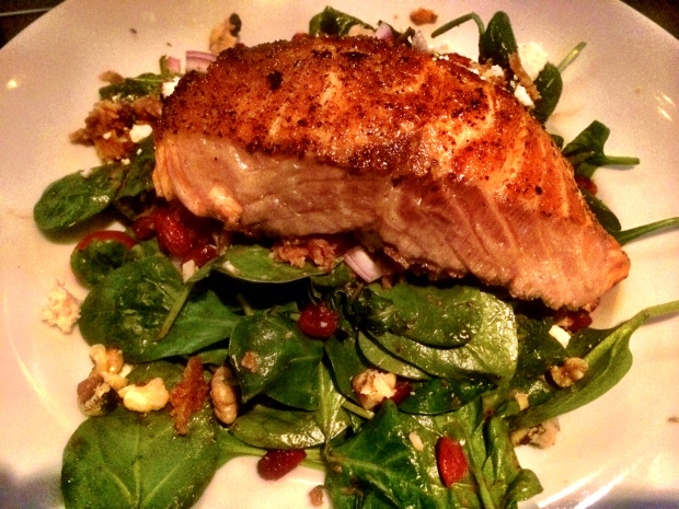 baby spinach salad + salmon