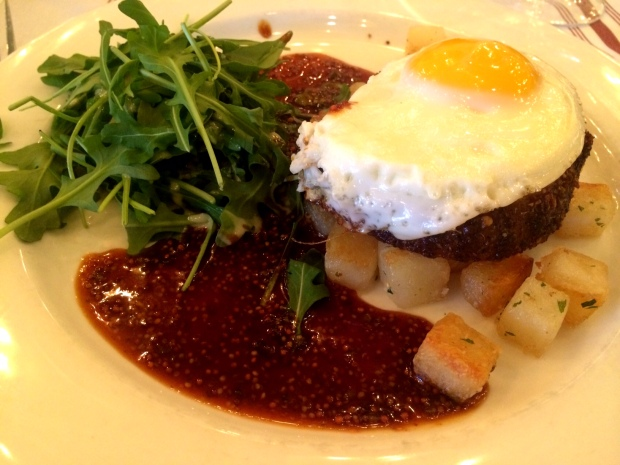 mustard crusted pork belly topped with fried egg  & crisped duck potatoes... Sunday brunch heaven